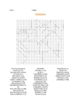 Halloween Word Search with Solution