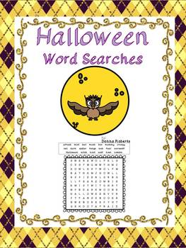 Halloween Word Searches 3 levels of difficulty for differe
