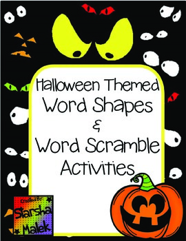 Halloween Word Shapes & Word Scramble (S.Malek)