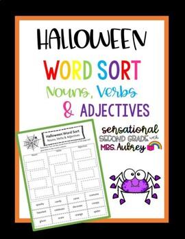 Halloween Word Sort- Nouns, Verbs and Adjectives