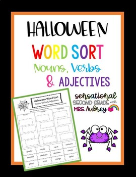 Halloween Word Sort- Nouns, Verbs and Adjectives