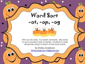 Halloween Word Sort (-og, -ot, -op)
