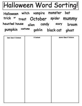 Halloween Word Sorting
