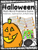 Halloween Word Problems Game- 2 Digit Adding & Subtracting