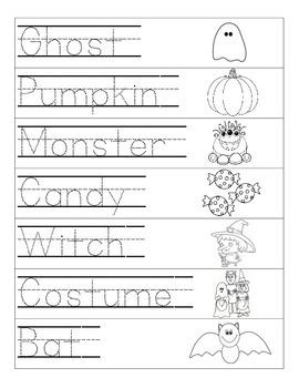 Halloween Word Tracing Page
