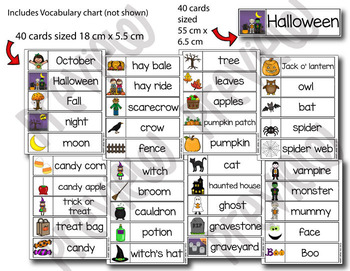 Halloween Word Wall - 40 word cards in two sizes plus Vocabulary Word list