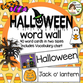 Halloween Word Wall - 40 word cards (two sizes) word list