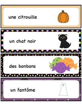 Halloween Word Wall - Mots étiquettes -French -Français