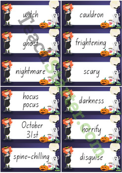 Halloween Word Wall Vocabulary