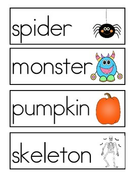 Halloween Word Wall Vocabulary Cards