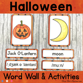 Halloween Word Wall Words, Flashcards and Matching Games
