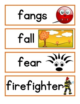 Halloween Word Wall and/or Pocket Chart Word and Picture Cards