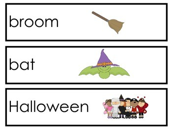 Halloween Word Wall cards to go with Halloween decodable reader