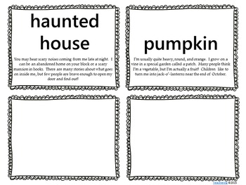 Halloween Word Wall with Definitions