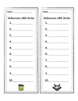 Halloween Word Work FREEBIES