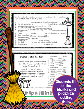 Halloween Activities Fun Word Work Flip Book