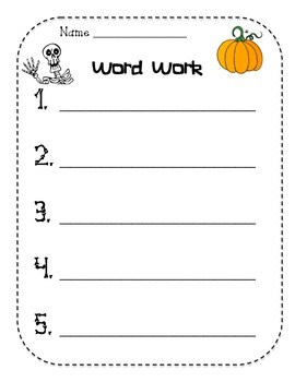 Halloween Word Work Sheet