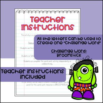 Halloween Word Work and Literacy Center Activity