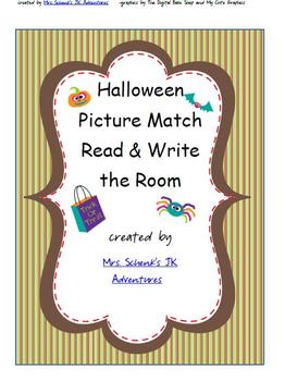 Halloween Word and Picture Match Write the Room