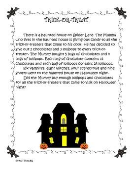 Halloween Word problem activities