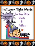 Halloween Activities: Halloween Words Flashcard Set Bundle - Color & B/W