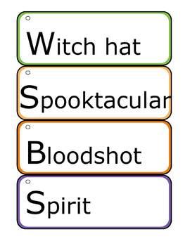 Halloween Activity - 56 Vocabulary Word Cards