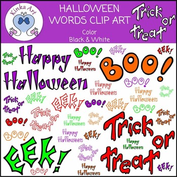 Halloween Words Clip Art
