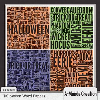 Halloween Words Digital Papers