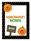 Halloween Words File Folder Word Wall