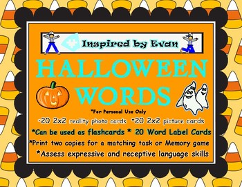 Halloween Words Matching/Memory Game/Flashcards for Autism