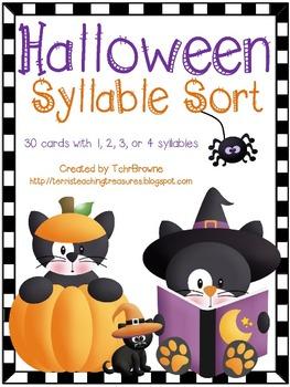 Halloween Words Syllable Sort