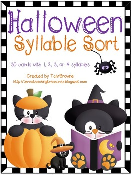Halloween Words Syllable Sort