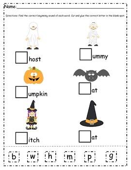 Halloween Words and Beginning Sound Worksheet