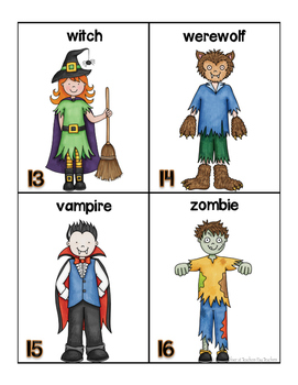 Halloween Words for writing center and write-the-room