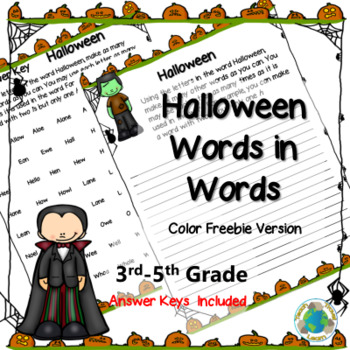 Freebie: Halloween Words-in-Words Activity Color Version
