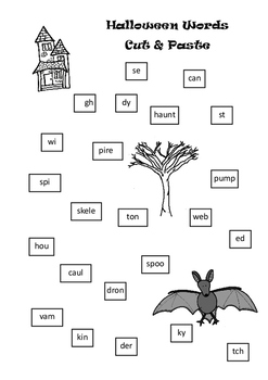 Halloween Words to Cut and Paste Early Years English Task