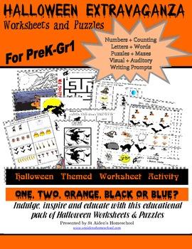 Halloween Worksheet Bundle, Pre-Grade 1