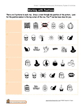 Halloween Worksheet Gr 1 - Positions