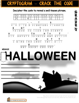 Halloween Worksheet Gr5 Cryptogram