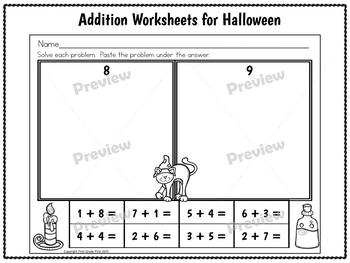 Halloween Math Worksheets First Grade