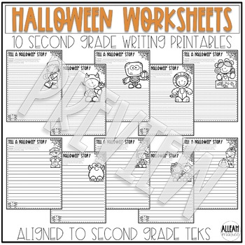 Halloween Worksheets: Literacy, Math, and Writing NO PREP Printables
