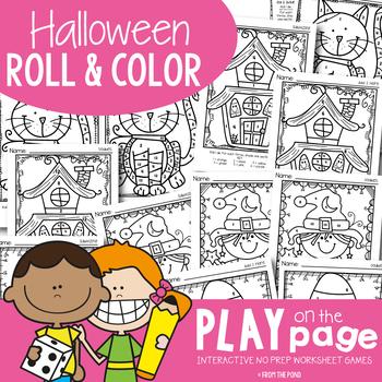 Halloween Math Worksheet Activities {Math Games Roll & Color}