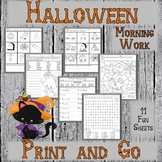 #fallfordollardeals Halloween Worksheets for Morning Work - Print and Go