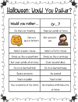 Halloween Would You Rather FREEBIE