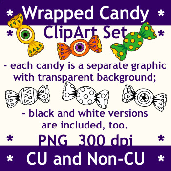 Halloween Wrapped Candies Clipart Set, CU and Non-CU