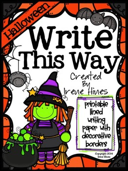 Halloween Write This Way ~ Decorative Printable Lined October Writing Paper Set
