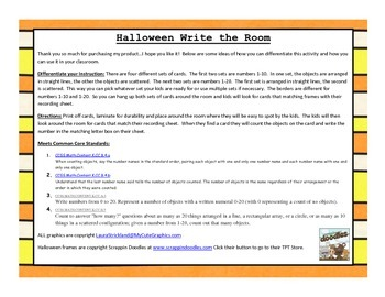 Halloween Write the Room: Numbers
