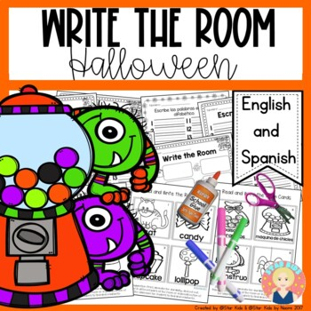 Halloween Write the Room in English and Spanish for K-1
