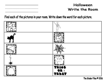 Halloween Write the Room- Includes 3 levels of answer sheets