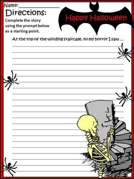 Halloween Activities: Halloween Writing Prompts Bundle - Color & BW